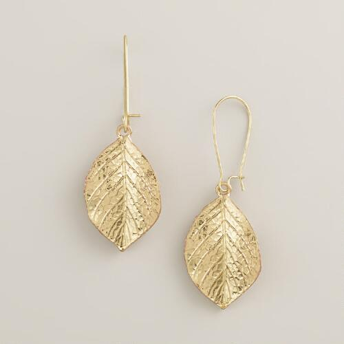 Gold Leaf-Drop Earrings