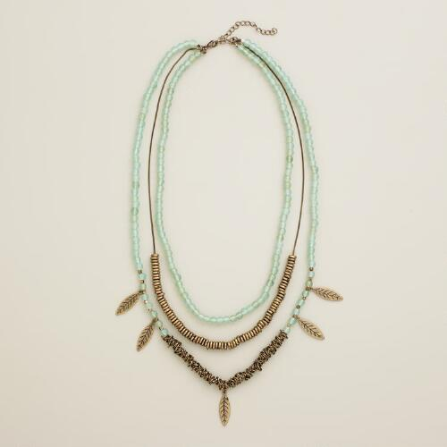 Gold Leaves and Mint Seed Bead Necklace