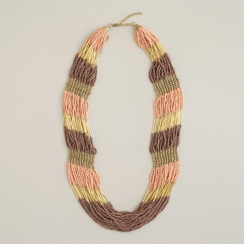 Blush and Brown Multi-Strand Seed Bead Necklace