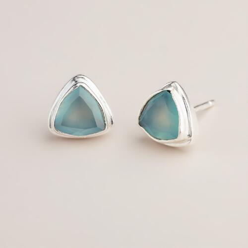 Silver and Mint Triangle Stud Earrings