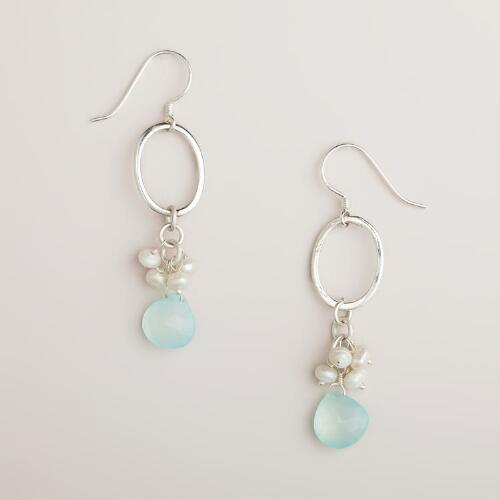 Silver and Mint Pearl Stone Drop Earring