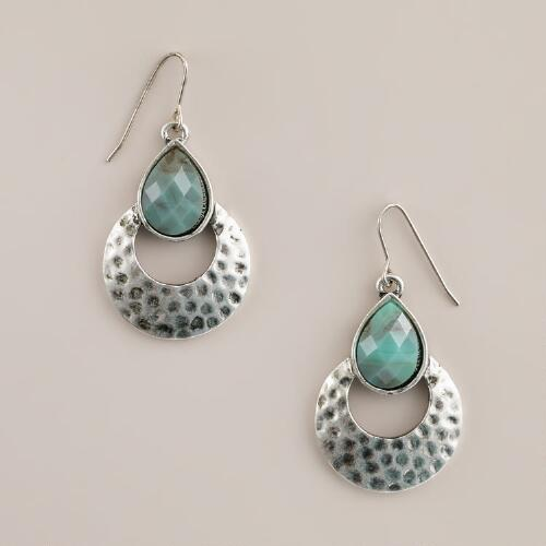 Hammered Silver and Blue Stone Drop Earrings