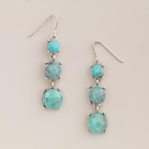 Silver and Blue Stone 3-Tier Drop Earrings