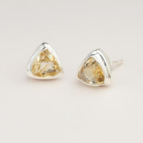 Citrine and Silver Triangle Stud Earrings
