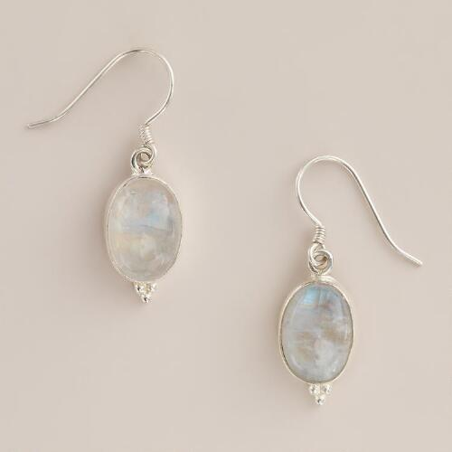 Silver and Moonstone Oval Drop Earrings