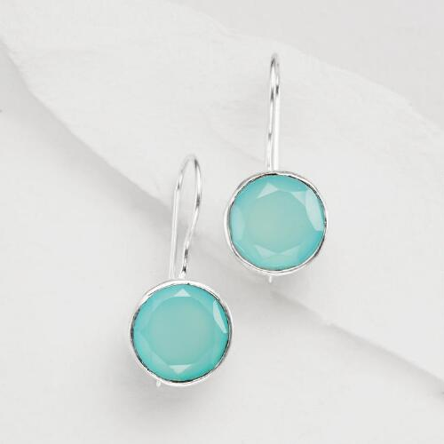 Aqua and Silver Round Drop Earrings