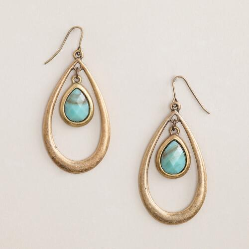 Gold and Turquoise Center Stone Teardrop Earrings