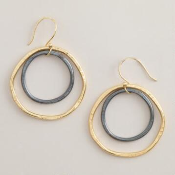 Gold and Gunmetal Drop Hoop Earrings