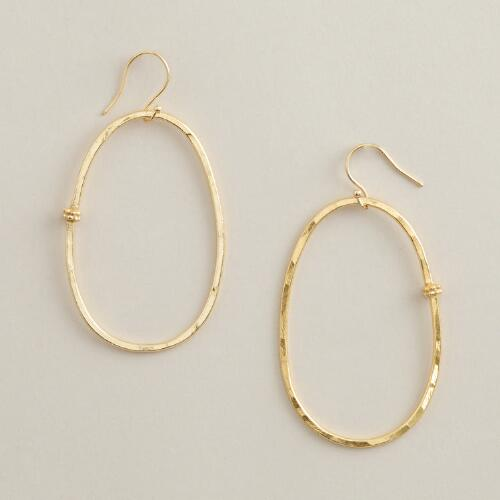 Large Gold Oval Hoop Earrings