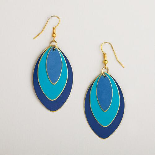 Turquoise and Blue Tonal Leaf Drop Earrings