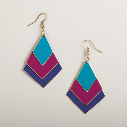 Turquoise, Fuchsia and Purple Diamond Drop Earrings