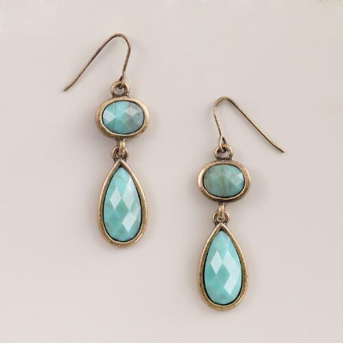 Blue and Gold Double Drop Earrings