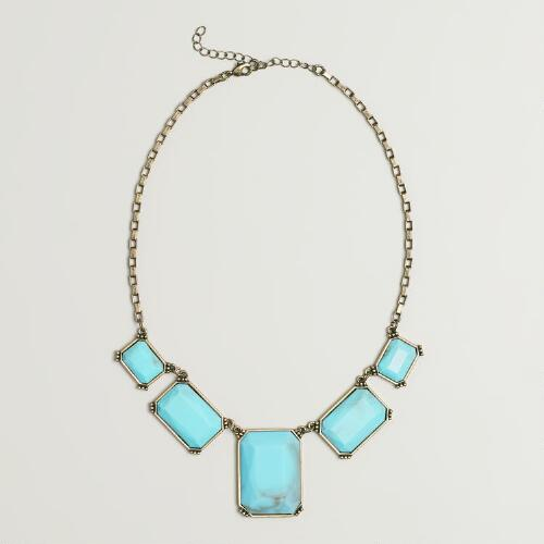 Five Blue Stones Statement Necklace