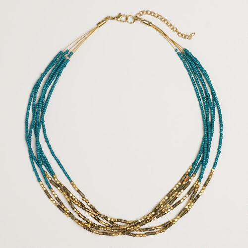 Teal and Gold Multi-Strand Seed Bead Necklace