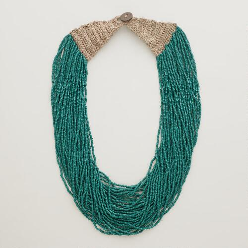 Teal Multi-Strand Seed Bead Necklace