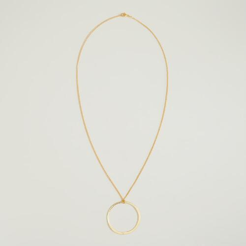 Long Gold Circle Pendant Necklace