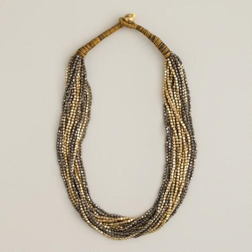 Gold and Gunmetal Indian Bead Necklace