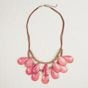 Berry Teardrop Suede Necklace