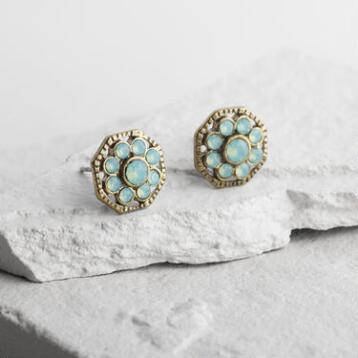 Pacific Opal Flower Stud Earrings