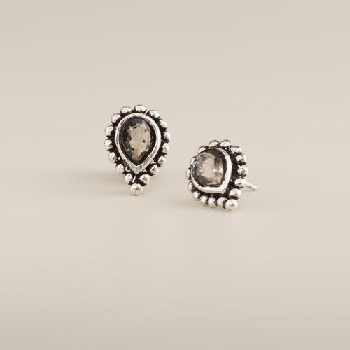 Clear Stone Tribal Teardrop Stud Earrings