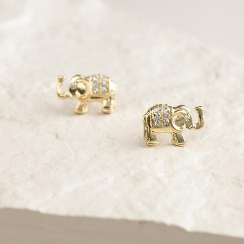 Gold Elephant Stud Earrings