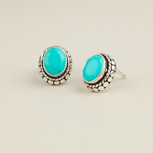 Silver and Turquoise Oval Tribal Stud Earrings