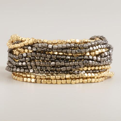 Indian Gold and Gunmetal Beaded Bracelet