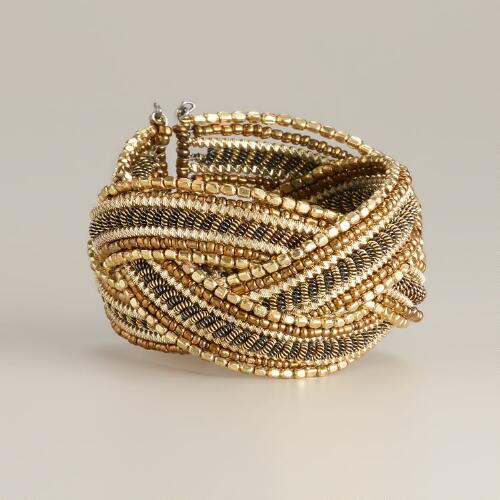 Gold and Silver Bead Twisted Cuff Bracelet