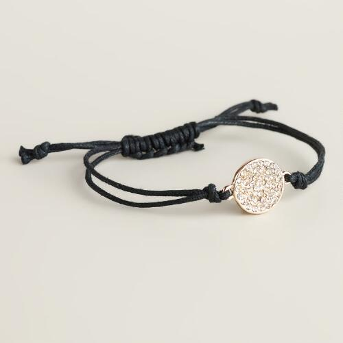 Gold and Black Pave Circle Friendship Bracelet