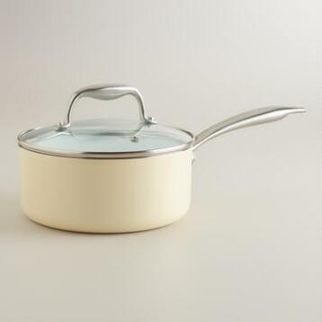 2-Quart Ivory Ceramic Nonstick Eco Saucepan
