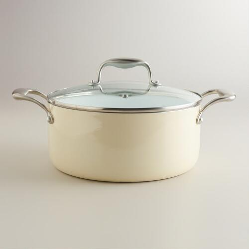 5-Quart Ivory Ceramic Nonstick Eco Sauce Pot