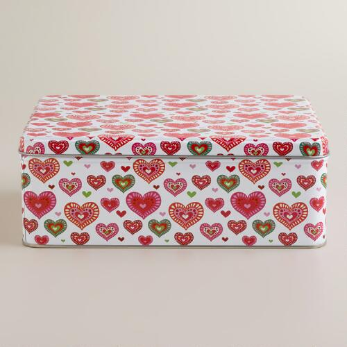 Rectangular Holiday Hearts Sweets Tins, Set of 2
