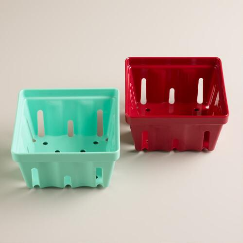Melamine Berry Baskets, Set of 2