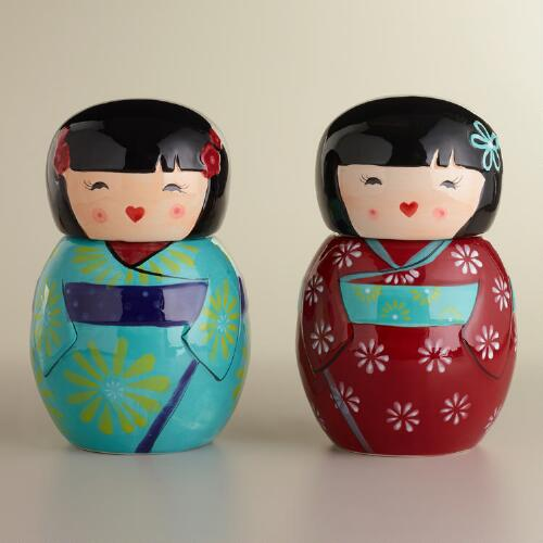 Kokeshi Doll Cookie Jars, Set of 2