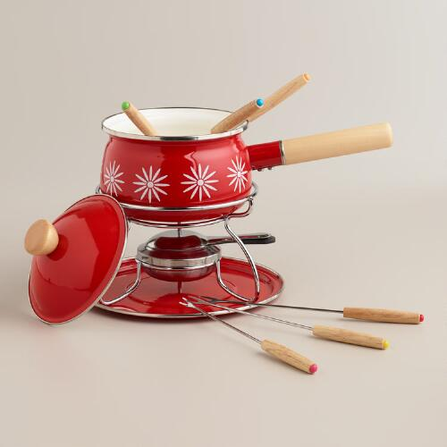 Red Enamel Fondue Set