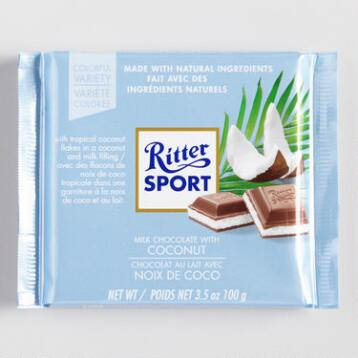 Ritter Sport Coconut Chocolate Bar, Set of 12