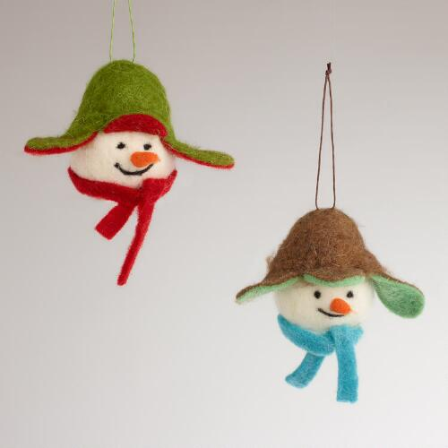 Fabric Snowman Head with Cap Ornaments, Set of 2