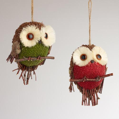 Natural Fiber and Burlap Owl Ornaments, Set of 2
