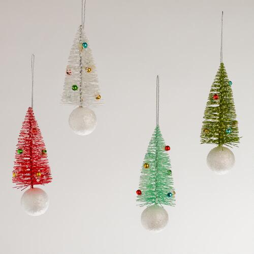 Bottlebrush Tree Ornaments, Set of 4