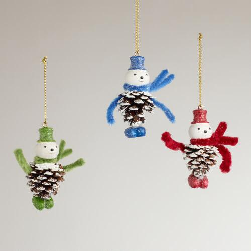 Pinecone Snowman Ornaments, Set of 3