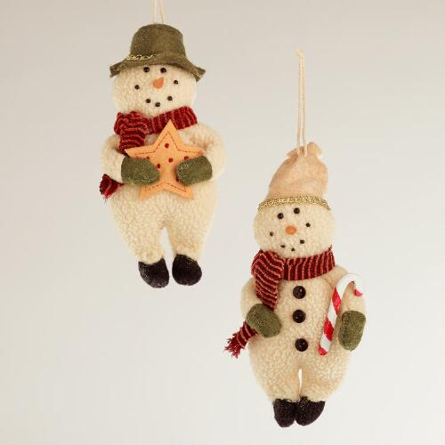 Fabric Snowman Ornaments, Set of 2