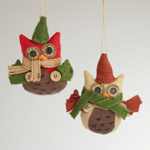 Fabric and Burlap Owl Ornaments, Set of 2