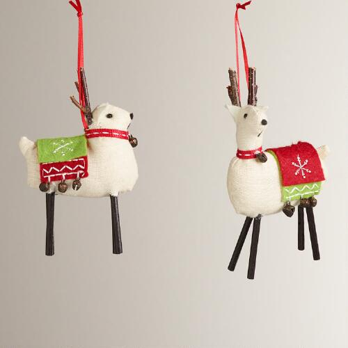 Fabric Deer with Blanket Ornaments, Set of 2