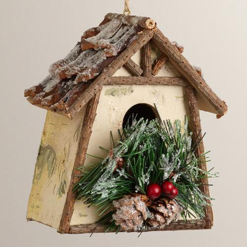 Rustic Wood Birdhouse Ornament