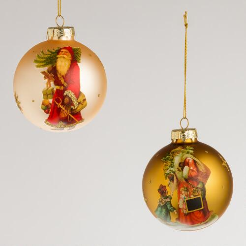 Victorian Santa Glass Ball Ornaments, Set of 2
