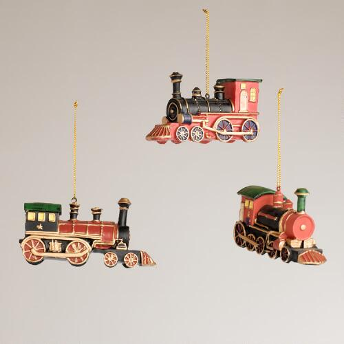 Victorian Train Ornaments, Set of 3