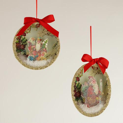 Victorian Santa Disc Ornaments, Set of 2