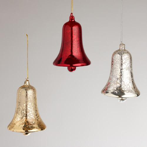 Glass Bell Ornaments, Set of 3