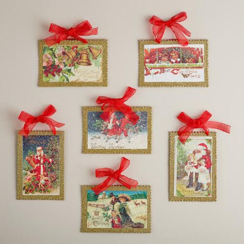 Vintage Reproduction Holiday Postcard Ornaments, Set of 6