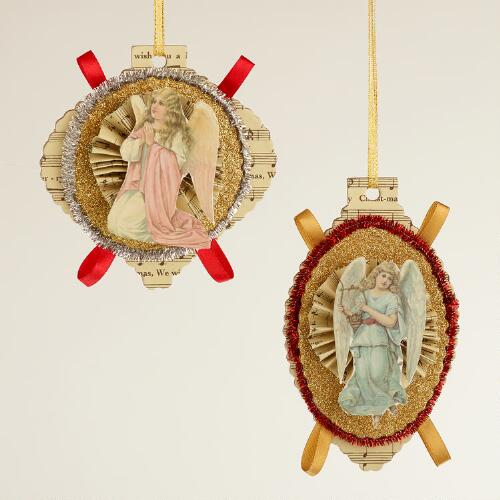 Paper Angel with Tinsel Ornaments, Set of 2